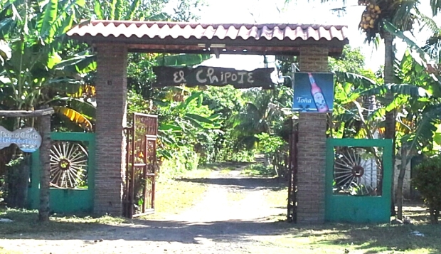 Finca del Chipote entrance through banana plantation